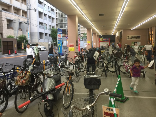 Parking lot not for cars, but for bikes! No fat people either! Walked to Life Grocery store in Shinmachi, Osaka, Japan from our apartment one block away!