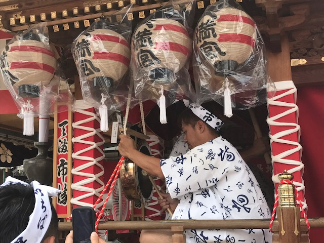Drumming during dancing at Tenjin Matsuri Festival at Temmangu Shinto Shrine, Osaka, Japan. Photo by Sydney Solis.