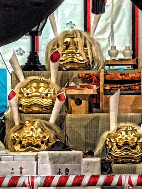 , lion masks used in Lion Dance at the Temmangu Shinto Shrine during Tenjin Matsuri. Osaka, Japan. Photo by Sydney Solis