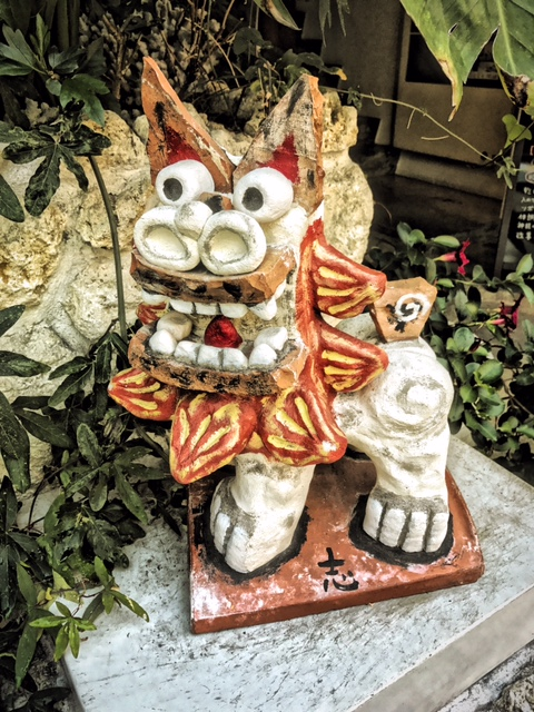 Lots of quaint little shops and things to see in our neighborhood in Shinmachi, Osaka, Japan. Tiny streets alive with people and few cars. This little Komainu, or dog-lion, sits outside a restaurant in the neighborhood.