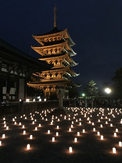 Kofukuji Temple lit up with lanterns at the To-kae festival for Obon, Nara, Japan. Photo by Sydney Solis