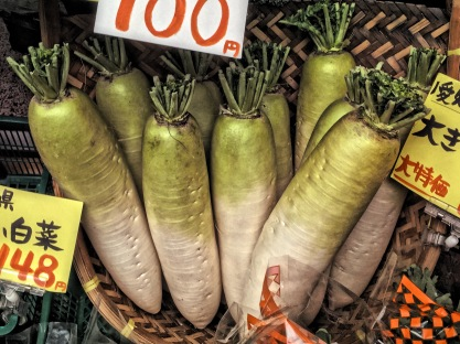 Daikon radish in grocery store, Osaka, Japan