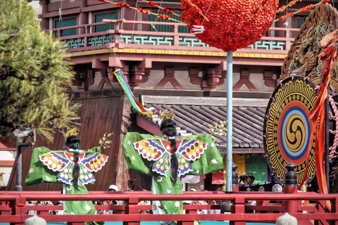 Children wear butterfly costumes during bugaku, classical dance at Shitennoji Buddhist Temple Shoryoe in Osaka, Japan. Photo By Sydney Solis