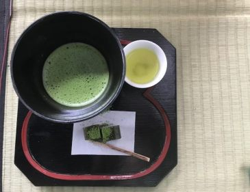 Matcha tea and wagashi, Japanese sweets, at a teahouse in Uji, Kyoto, Japan. Photo by Sydney Solis.