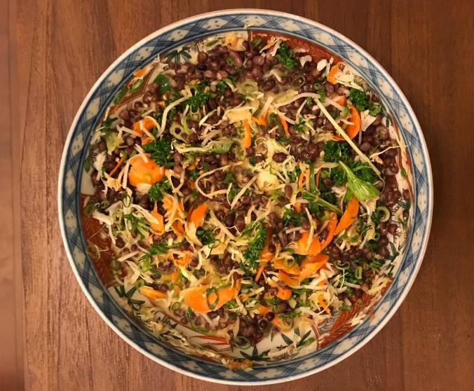 An original recipe of mine using sesame dressing, goma, adzuki beans, cabbage, veggies, seaweed and more! Recipe coming up!