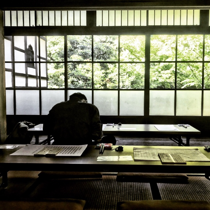 Shorin-ji Zen Temple in Kyoto Japan where I sat doing image copying and gazing out the window in sublime reflection. Photo by Sydney Solis