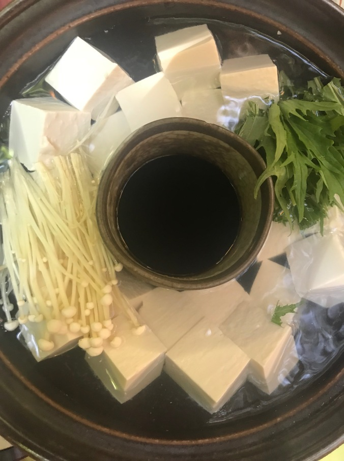 Yofudo, traditional Japanese boiled tofu and vegetables and dashi.