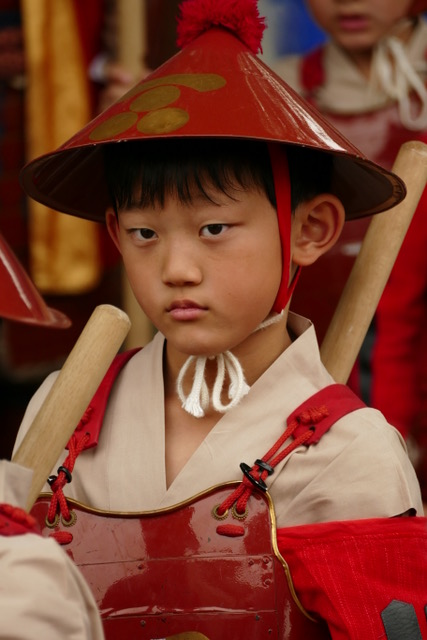 Children red army infantry during Otaue Rice Planting Festival at Sumiyoshi Taisha Shinto Shrine in Osaka. Photo by Paloma Solis.