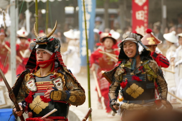 Furyomusha samurai youth at Otaue rice planting festival at Sumiyoshi Taisha Shinto Shrine. Photo by Paloma Solis.