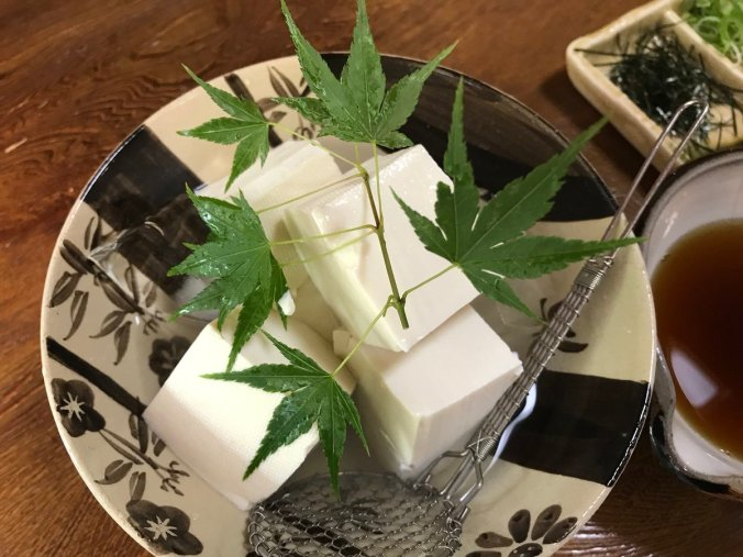 Chilled tofu at Japanese Restaurant along way to Honen-ji Buddhist Temple. Vegan and vegetarian options!