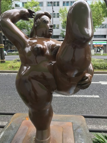 All bodies are celebrated! And no anatomical  part is censored! As nature intended it! Near Hommachi Station, Osaka, Japan. Photo by Sydney Solis