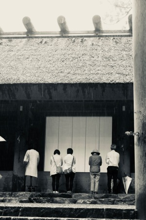 Worshippers of Outer Shrine, Ise Jingu Grand Shirne, Ise, Japan. Photograph by Sydney Solis
