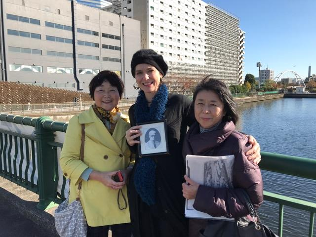 With Taeko-San and Yoshiko-San on the bridge at Tennozu Isle, with the former Shinagawa Hospital site where my grandfather died a POW was and is now condominiums. A playground is being built there too. Yet there is no historical marker like at Camp Omori about the history that occurred there. In the United States Japanese Internment camps are being closed off to the public. WHY? We cannot be denied history. The truth must be told! War is hell! Especially for children! The Japanese people, The American People The world's people want peace!