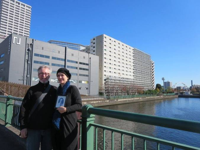 Getting a view of the former WWII POW Hospital at Shinagawa from the bridge. With my super hubby and support in this emotional time,