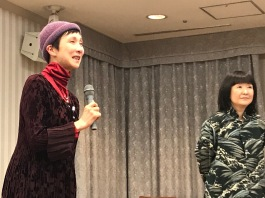 """My Japanese """"sisters."""" Asako-san and Eiko-San Matsui at last year's Peace Through Kamishibai seminar in Tokyo. Their grandfather died in prison during World War II for speaking out against the war."""