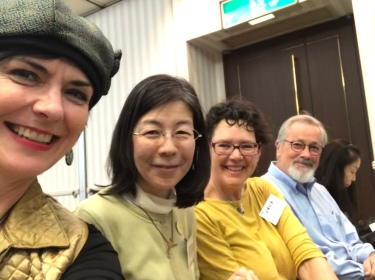 This year's Kamishibai seminar with interpreter Noriko, Erika Siskind of Oakland, California Public Libraries and Walter Ritter of Read Out Loud in San Diego.