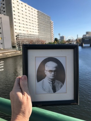 My grandfather, who died at Shinagawa POW Hospital in November 1943 during World War II. There is no marker to remember the war or suffering that happened there, only condominiums and commerce at Tennozu Isle outside Tokyo.