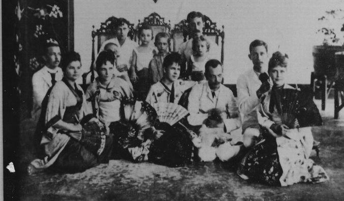 My colonial Dutch East Indies ancestors, far right, with fan.
