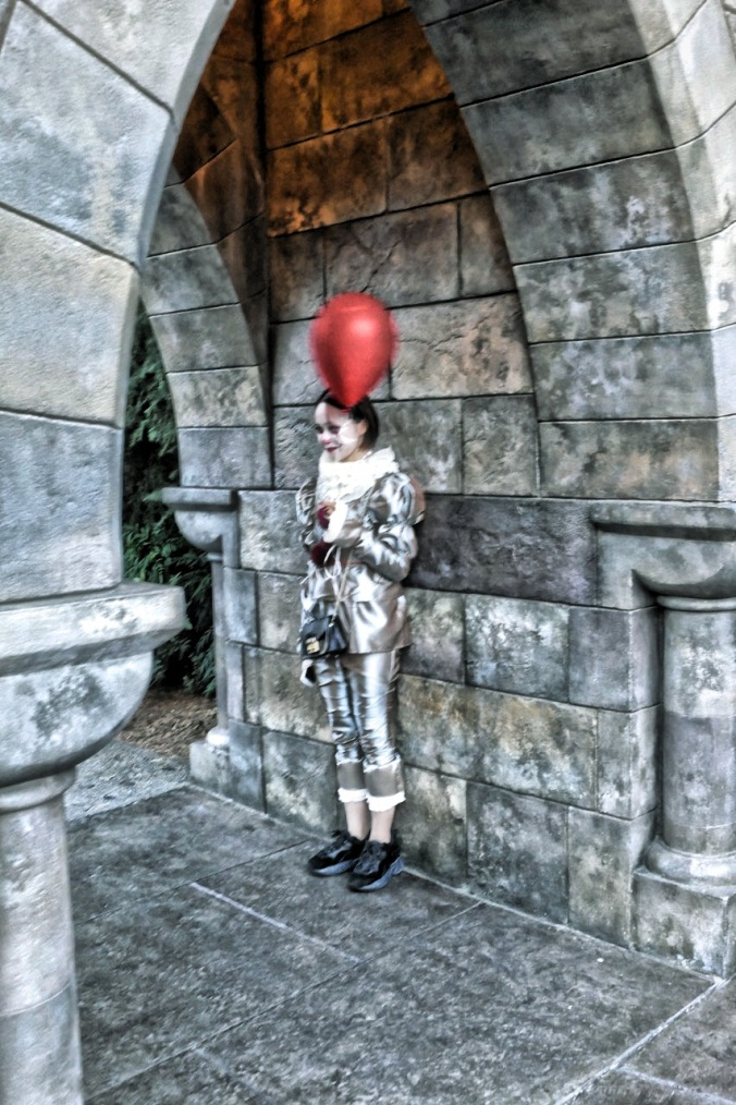 An elegant Harlequin Clown at Universal Studios Japan Halloween. Photo by Sydney Solis