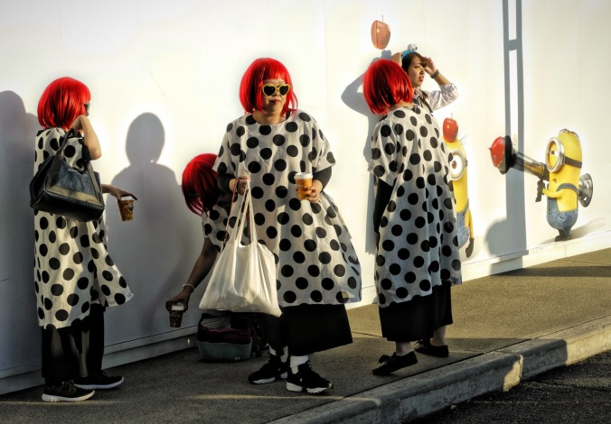 Living Artist Yayoi Kusama costumes at Universal Studios Japan. Photo by Sydney Solis