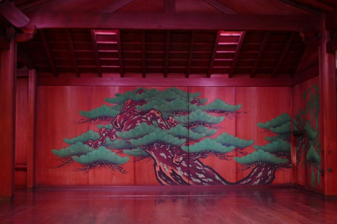Noh Theatre stage at Yamamoto Noh Theatre in Osaka.