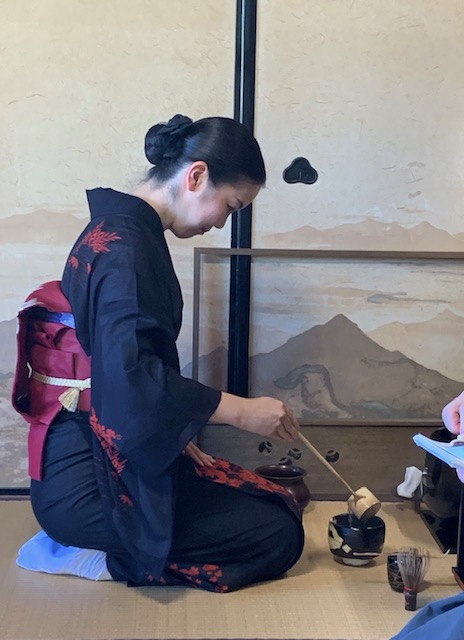 Atsuko Mori of Camillia Tea Ceremony in Kyoto prepares the tea.