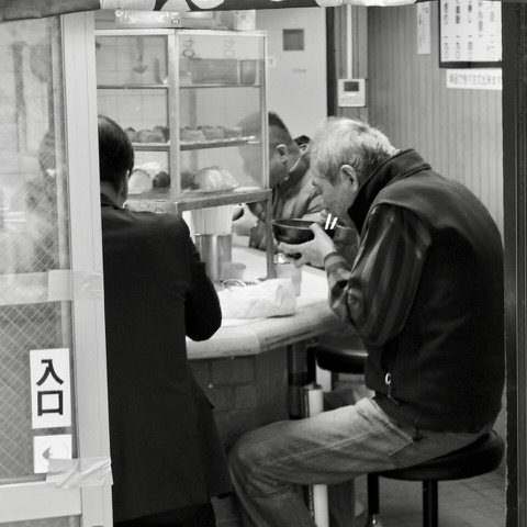 Eating Noodles. Shinshaibashi, Osaka, Japan. Photo by Sydney Solis