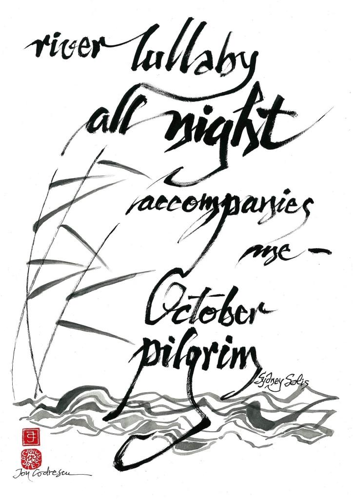 Haiga by Romanian Artist and Lafcadio Hearn Memorial Haiku Competition Judge Ion Codrescu of Second place winner Sydney Solis's haiku.
