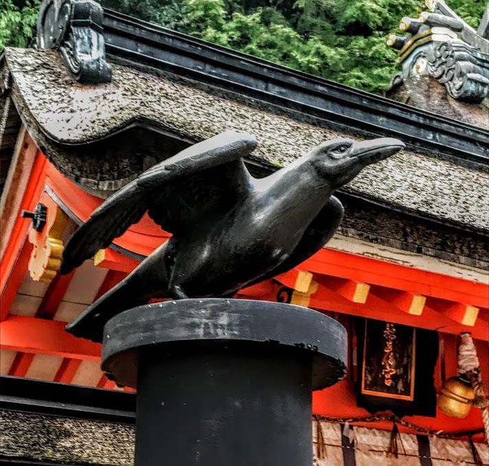 Yatagarasu sculpture at Miagarahikosya shrine in 熊野那智大社 Kumano Nachi Taisha. Photo by Sydney Solis