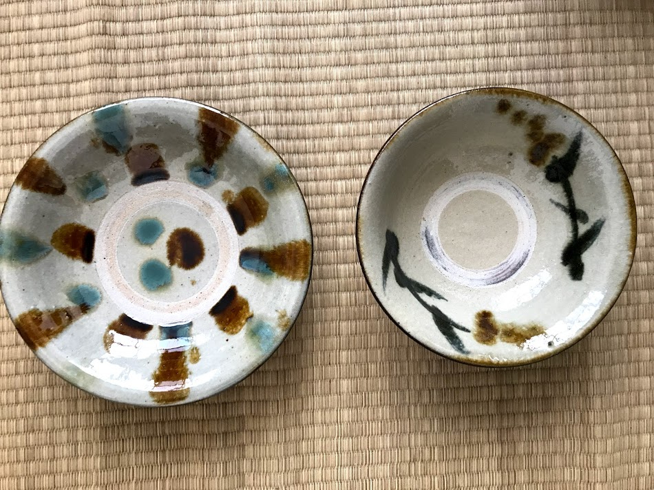 Japanese ceramic bowls hand-made in Okinawa bought in Osaka.