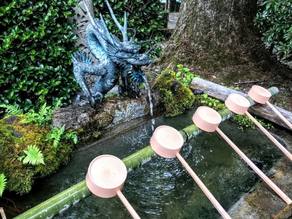 Purification fountain at Walking to Hongu Taisha Shinto Shrine on the Kumano Kodo. Photo by Sydney Solis.