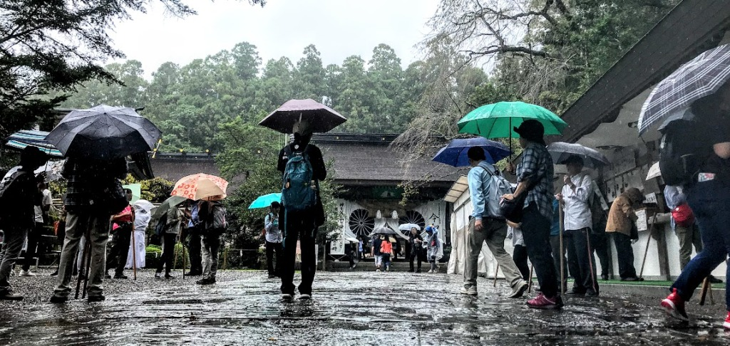 Kumano Hongu Taisha Shinto Shrine in the rain.