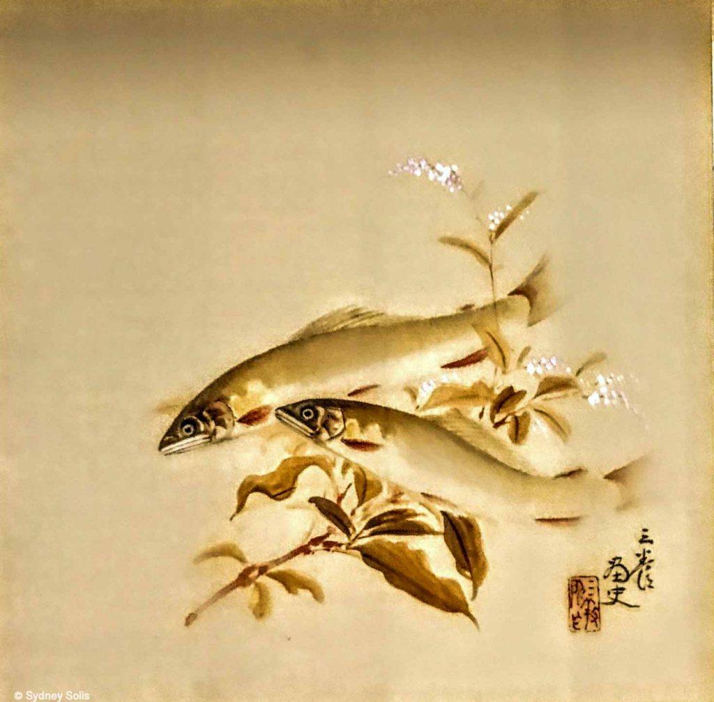 Fish art at Nigisaya Hotel and onsen, Wakayama, Japan.