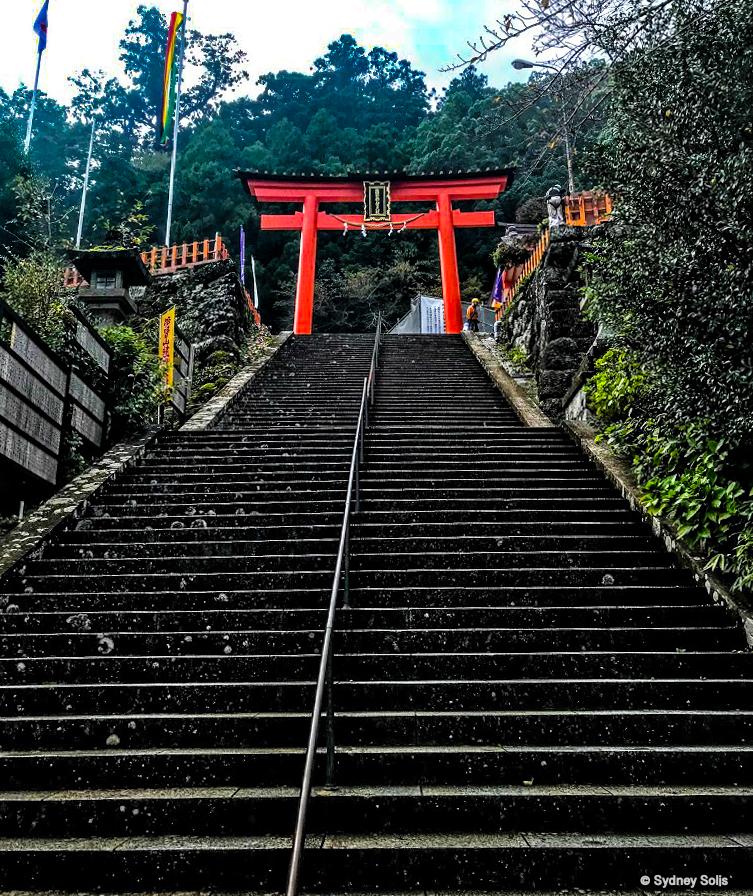 Torii Gate approach atop steps entering Nachi Taisha Grand Shrine, Wakayama Prefecture, Japan