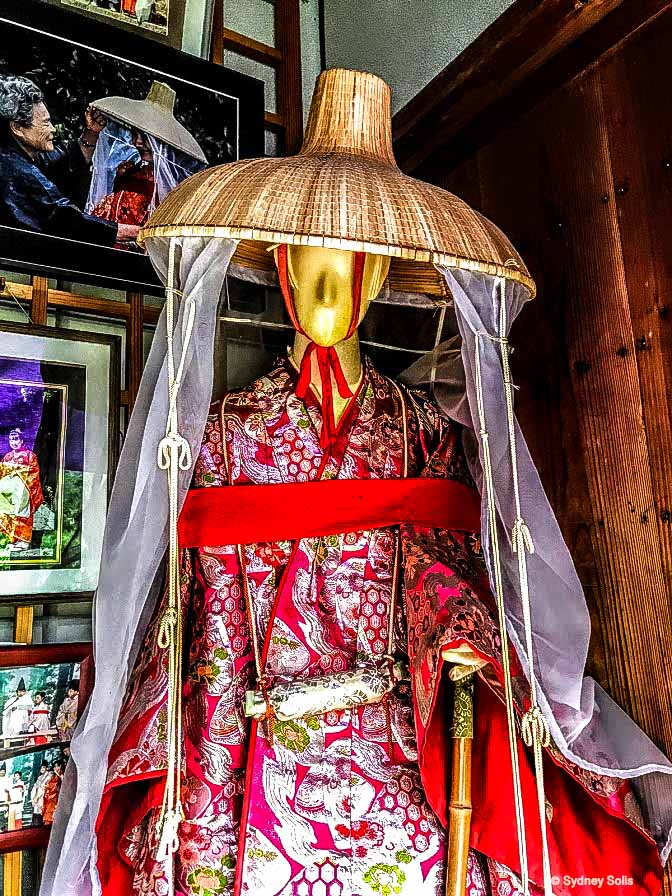 Traditional Heian period pilgrim costumes are available for rent at the Daimon-zaka entrance of the Kumano Kodo in Wakayama, Japan