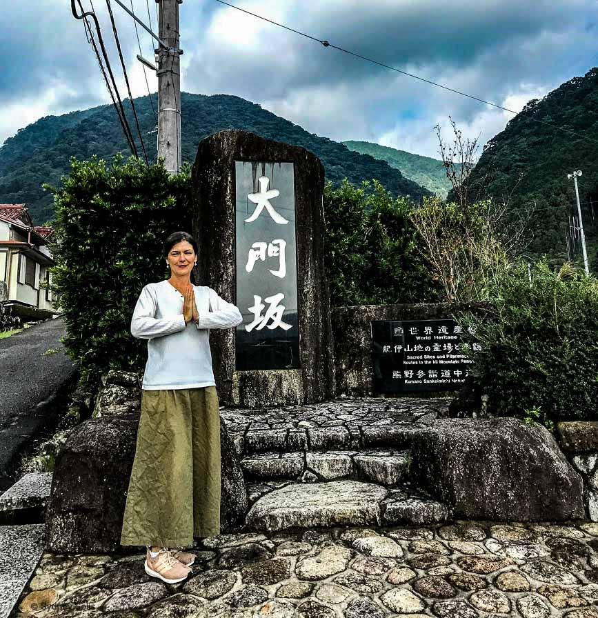 Sydney Solis at the Daimon-zaka entrance of the Kumano Kodo pilgrimage in Wakayama Prefecture, Japan.
