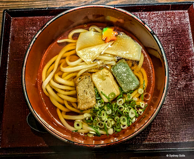 A bowl of udon with nama-fu and yuba, tofu skin at a restaurant in Arayshiyama, Kyoto, Japan.