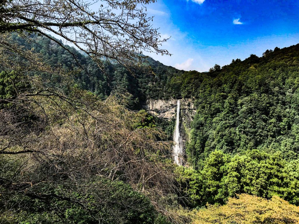Kumano Kodo Nachi Taisha view of Nachi Waterfalls from the Three-Storied Pagoda Sanjūdō