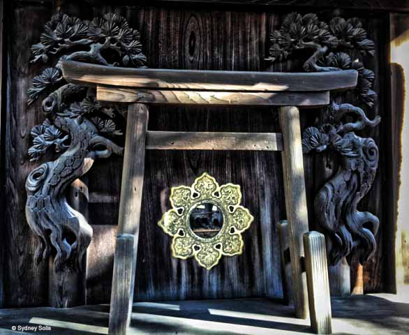 Mirrors play an important role in Shinto and Buddhist Shines in Japan. Sumiyoshi Taisha Shinto Shrine, Osaka, Japan.