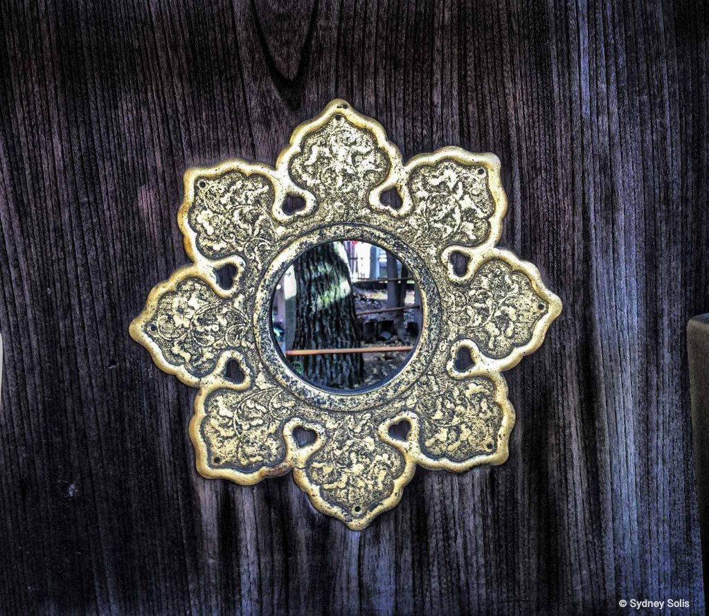 Mirrors play an important role in Shinto and Buddhist Shines in Japan. Sumiyoshi Taisha Shinto Shrine, Osaka, Japan.