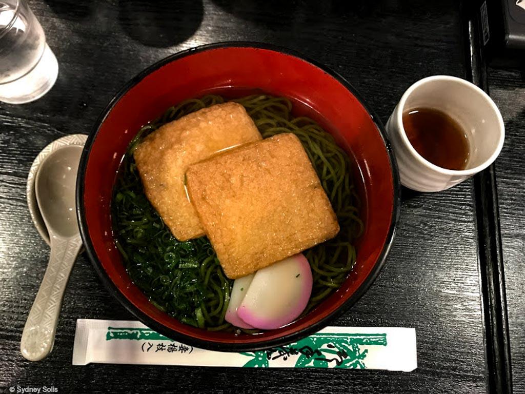 Matcha ramen and Aburaage tofu.
